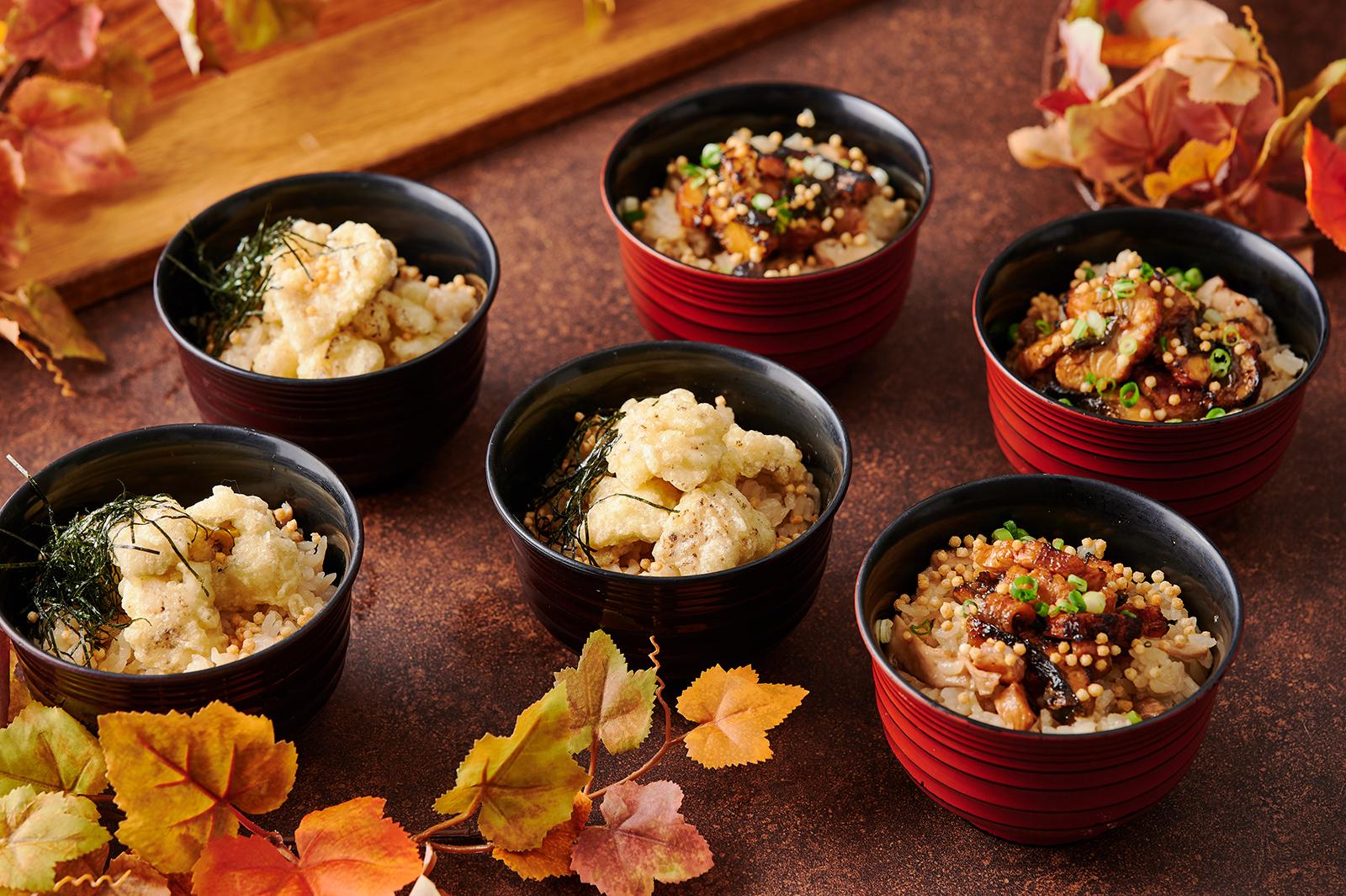 鱧の天ぷらとキノコの炊き込みご飯 天茶風(左)  ウナギの炙りをのせた松茸とキノコ炊き込みご飯 ひつまぶし風(右)
