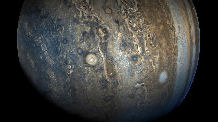 ▲木星の南半球の嵐と雲 木星探査機ジュノーによる観測 NASA/JPL-Caltech/SwRI/MSSS
