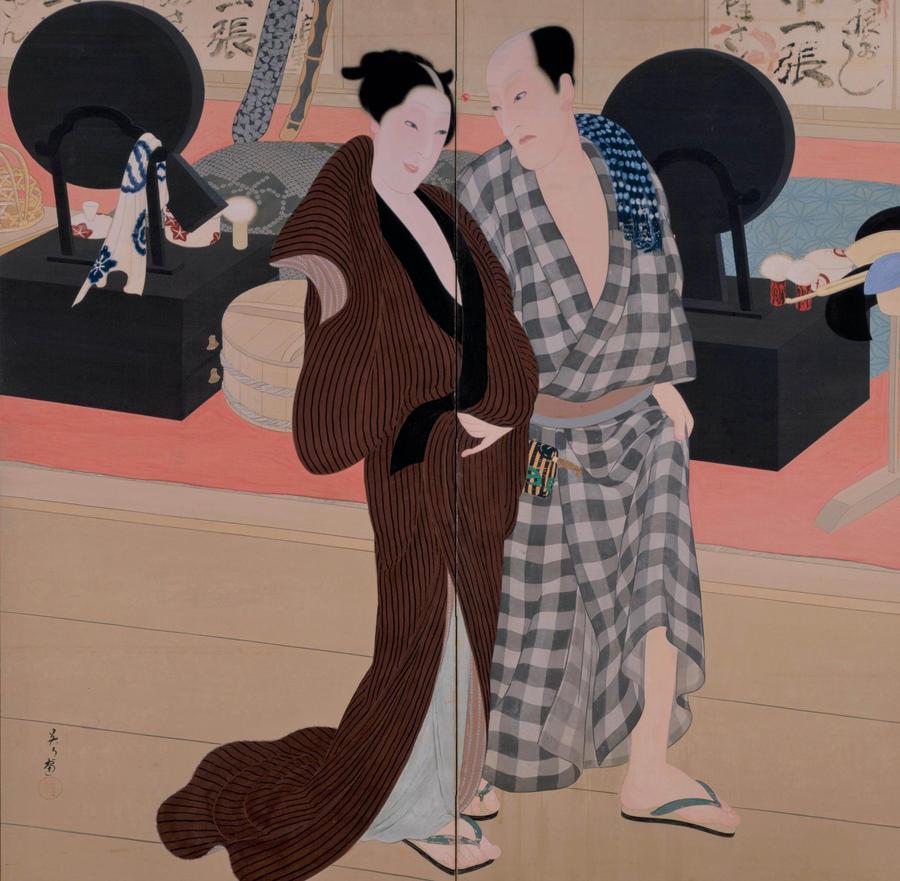 三宅凰白《楽屋風呂から》1915 、 京都市立芸術大学芸術資料館