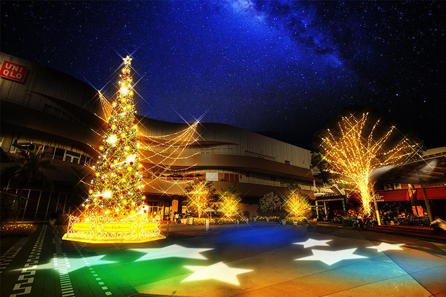▲コクーンひろばには今年も、クリスマス気分を盛り上げる高さ10m超のクリスマスツリーが登場。音楽に合わせて流れ星が降り注ぐロマンチックな演出も。