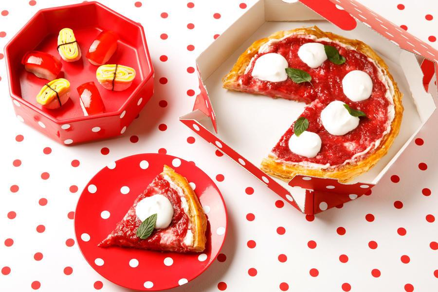▲写真左上から:マグロのお寿司ケーキ&たまごのお寿司ケーキ/苺のマルゲリータパイ