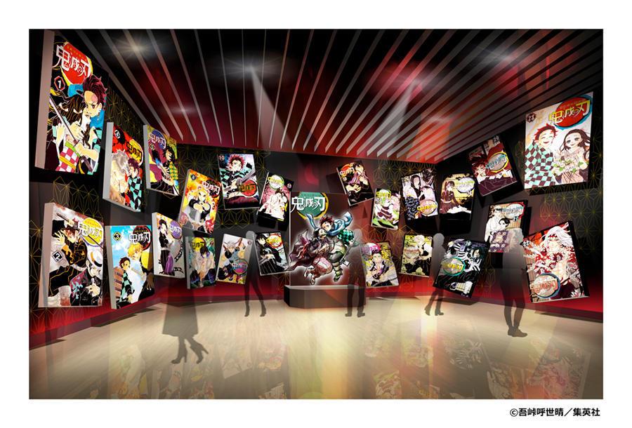 ▲展示イメージ 序章コミックスが舞い散り光り輝く空間で、等身大フィギュアがお出迎え!