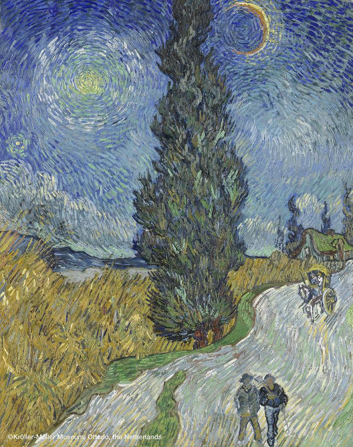 ▲フィンセント・ファン・ゴッホ 《夜のプロヴァンスの田舎道》 1890年5月12-15日頃  油彩、カンヴァス 90.6×72cm クレラー=ミュラー美術館蔵