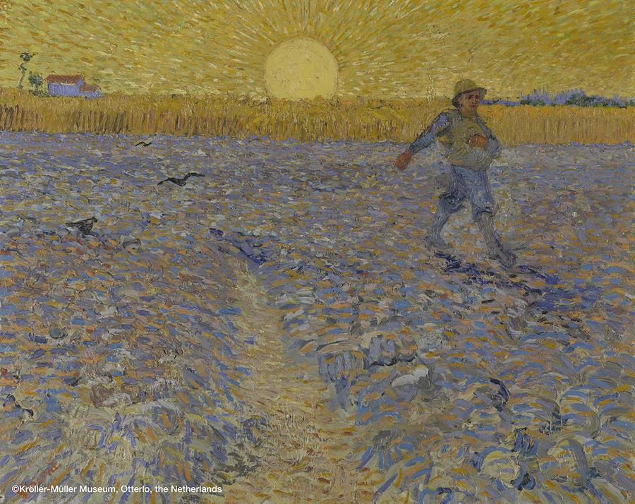 ▲フィンセント・ファン・ゴッホ 《種まく人》 1888年6月17-28日頃 油彩、カンヴァス  64.2×80.3cm クレラー=ミュラー美術館蔵