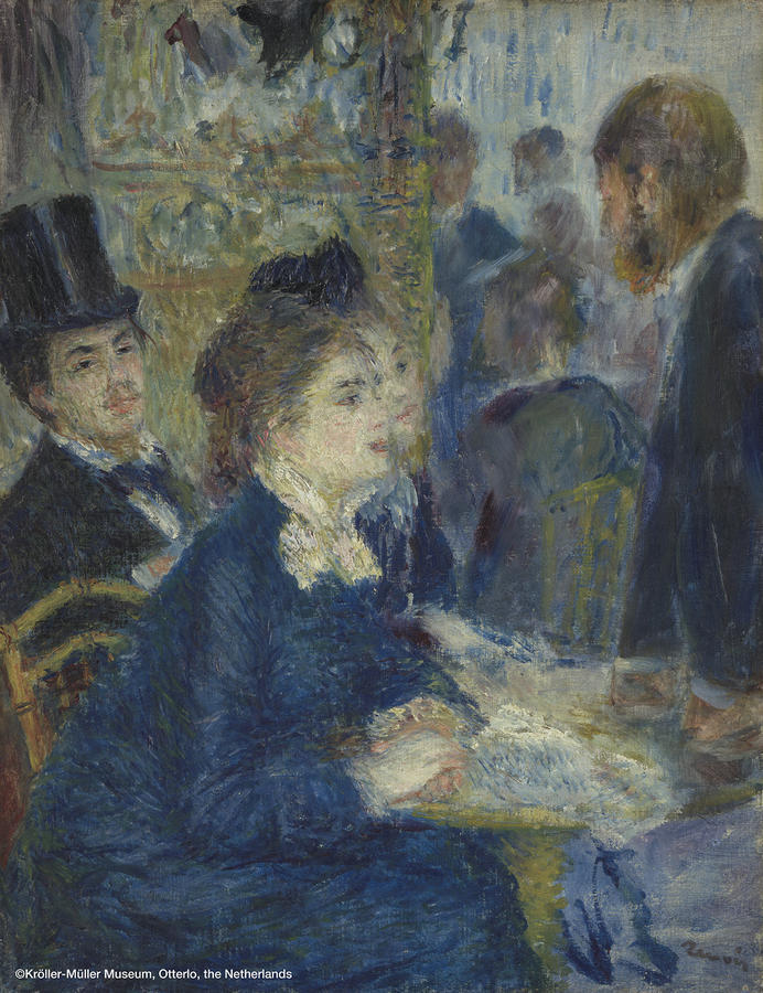 ▲ピエール=オーギュスト・ルノワール 《カフェにて》 1877年頃 油彩、カンヴァス  35.7×27.5cm クレラー=ミュラー美術館蔵