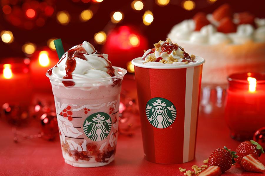 クリスマス ストロベリー ケーキ ミルク&クリスマス ストロベリー ケーキ フラペチーノ