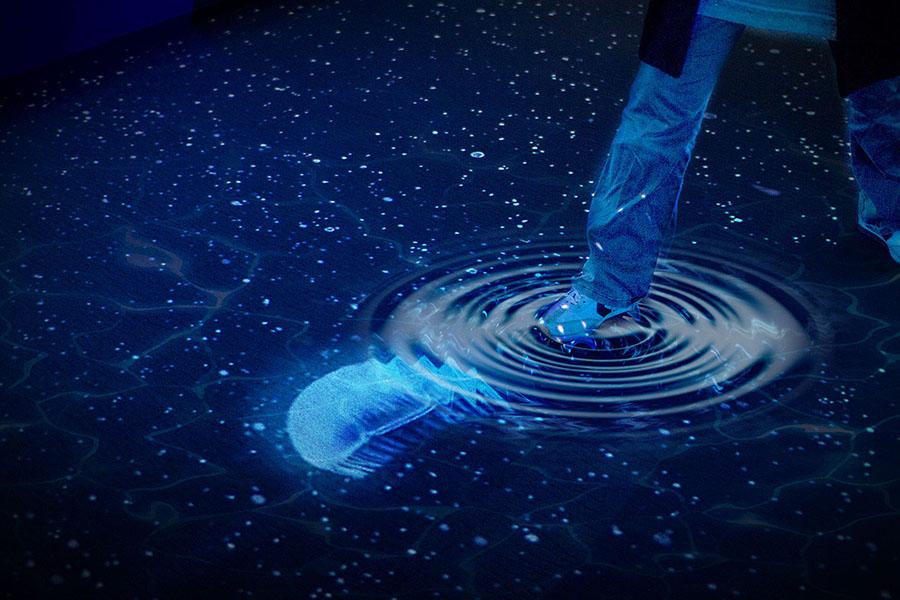 水の上を歩くと波紋が広がる