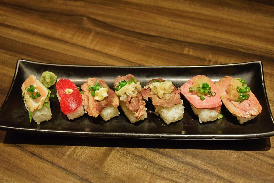 雫no庭 肉の寿司7種