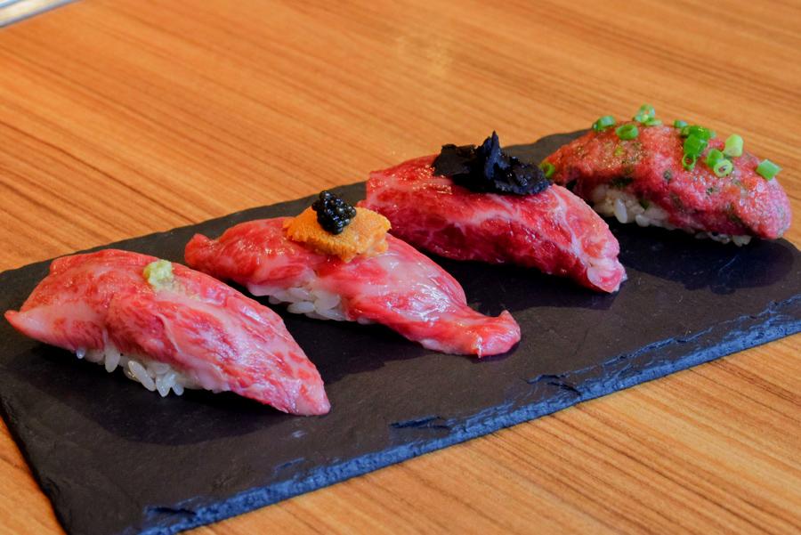 恵比寿kintan 生肉の握り寿司4種