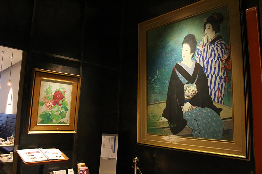 文明堂カフェ 伊藤深水画伯など著名作家の絵画