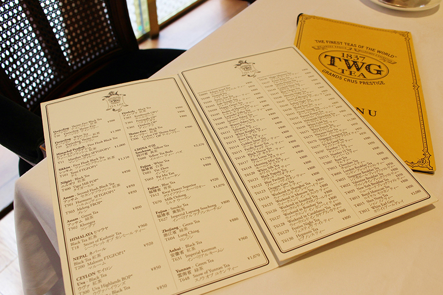 TWG Tea メニュー