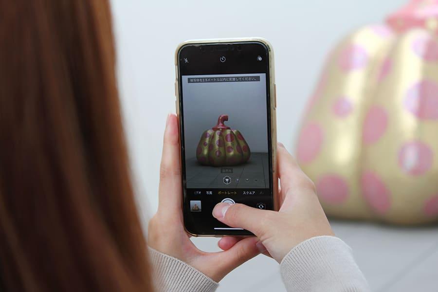 草間彌生美術館  大型のかぼちゃのオブジェを撮影