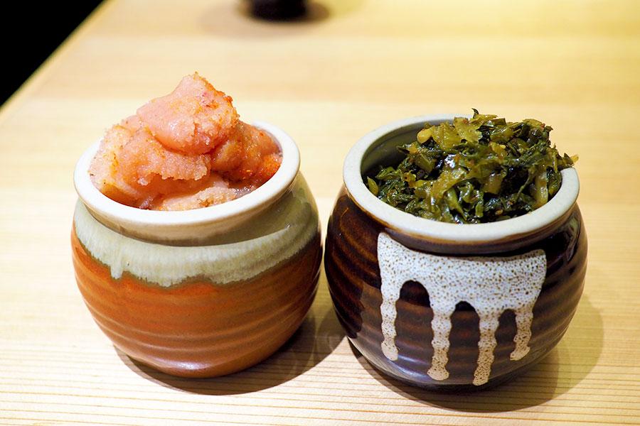 博多天ぷら やまみ 「辛子明太子」と「辛子高菜」