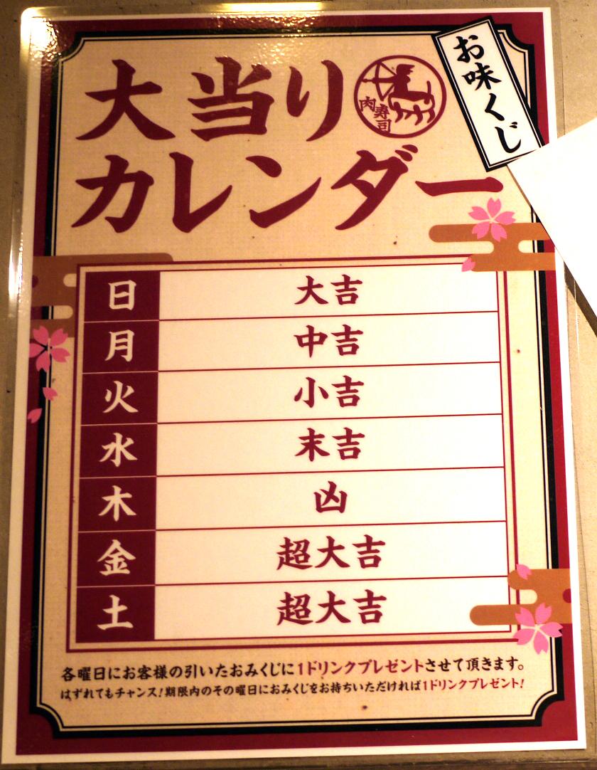 上野 肉寿司 「お味くじ」大当たりカレンダー