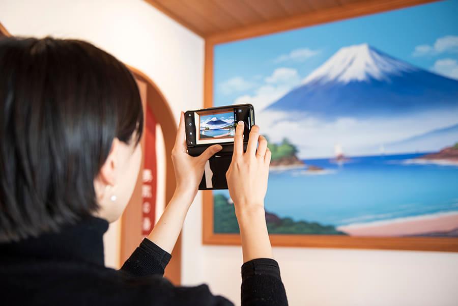 はすぬま温泉 富士山の壁画 撮影