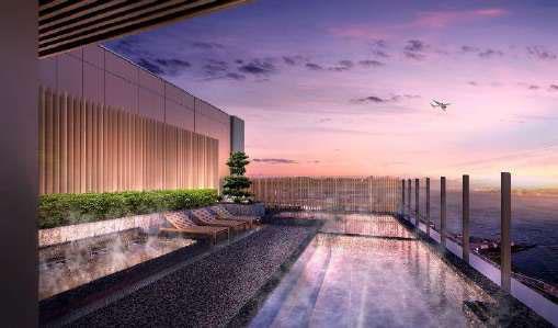 ▲泉天空の湯羽田空港 イメージ 飛行機や富士山を望むことができる展望露天風呂
