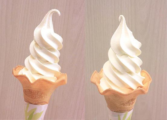 ▲ソフトクリーム 左:鳥取県・大山(だいせん)白バラソフトクリーム 右:岡山県・蒜山(ひるぜん)ジャージーソフトクリーム